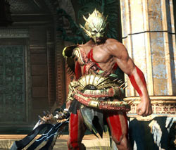 Kratos in customizable armor in God of War: Ascension