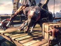 An elephant like boss cornering npcs characters in God of War: Ascension