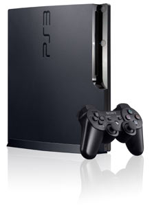 An isolated view of the PS3 320 GB console, with included DualShock 3 controller