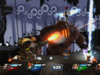 Sweet Tooth unleashing a barrage of bullets in a Patapon themed game environment in PlayStation All-Stars Battle Royale