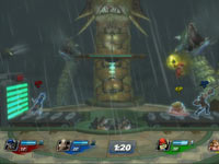 Kratos using the Blades of Chaos against Parappa the Rapper in PlayStation All-Stars Battle Royale