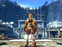 A hero standing before a town in Ragnarok Odyssey