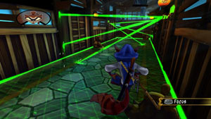 Sly Cooper navigating a light beam security system in Sly Cooper: Thieves in Time for PS Vita