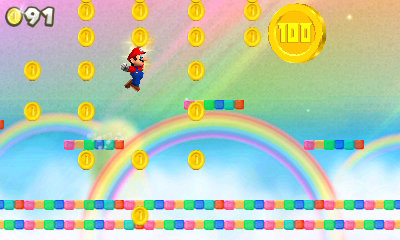 platforming for gold at the end of a rainbow in New Super Mario Bros 2
