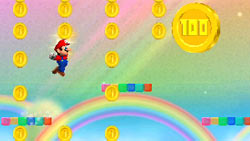 Mario platforming for gold at the end of a rainbow in New Super Mario Bros 2