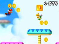 Racoon Mario and Luigi flying through the air in New Super Mario Bros 2