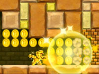 Mario creating his own gold from gameworld items after using the Gold Flower power-up in New Super Mario Bros 2