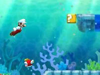 Mario heading for a portal tube in an underwater environment in New Super Mario Bros 2
