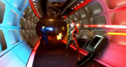 Kirk and Spock in a Red and Blue Corridor