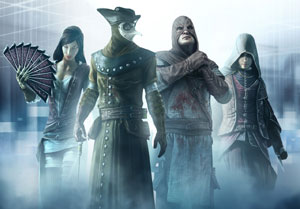 Ezio flanked by some of the members of the Assassin's Brotherhood from Assassin's Creed: Brotherhood