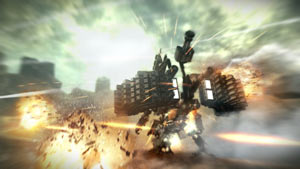 An armored core mech customized with extreme weaponry in Armored Core V