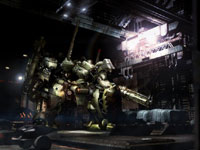 An armored core mech in a player's garage in Armored Core V