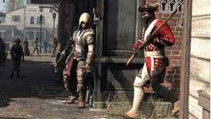 Connor lying in wait for an unsuspecting red coat in Assassin's Creed III