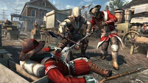 Connor in close combat using the tomahawk in Assassin's Creed III