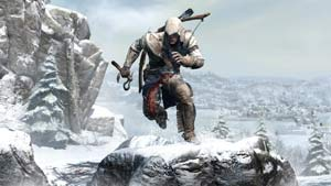 Connor charging through a snow-filled environment in Assassin's Creed III