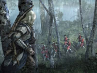 Connor watching a British patrol marching through the woods in Assassin's Creed III