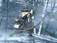 Connor using his bow during a deer hunt in Assassin's Creed III
