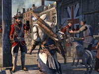 Connor in a town setting Assassin's Creed III