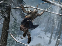 Connor using the tree branches of the forest as a highway in Assassin's Creed III