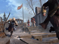 Connor grabbing a musket to finish a pursuded Templar in Assassin's Creed III