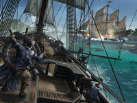 Piloting a ship during a naval battle from Assassin's Creed III