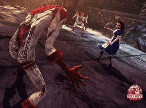 Alice brandishing her Vorpal blade at surrounding enemies in Alice: Madness Returns