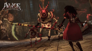 Alice facing a variety of baddies in Alice: Madness Returns