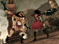 Alice dueling the 4 of clubs in Alice: Madness Returns