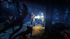 Marines holding their position against attacking aliens during a firefight in Aliens: Colonial Marines