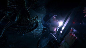 An alien sneeking  up on a marine from above in Aliens: Colonial Marines