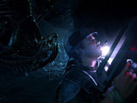 An alien sneeking up on a marine in Aliens: Colonial Marines