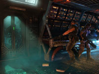 Working together to keep aliens from breaking through a control room door in Aliens: Colonial Marines
