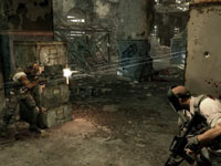 Bravo and Alpha using cover to advance under heavy enemy fire in Army of TWO The Devil's Cartel