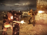 Alpha using a shield to flank enemies in Army of TWO The Devil's Cartel