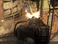 Catching enemies in crossfire on a catwalk using a helicopter's heavy chain gun in Army of TWO The Devil's Cartel
