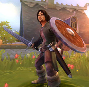 Aragorn ready with sword and shield in The Lord of the Rings: Aragorn's Quest