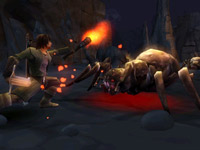 Aragorn battling giant spiders in The Lord of the Rings: Aragorn's Quest