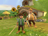 Frodo and Sam in front of Bag End in The Lord of the Rings: Aragorn's Quest