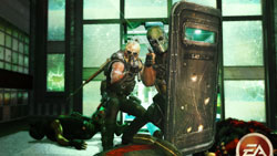 Rio and Salem using a riot shield as mobile cover in Army of Two: The 40th Day