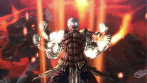 Asura white hot with rage and in his 6-arm form in Asura's Wrath