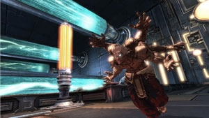 Asura rushing through a sci-fi setting in his 6-arm form in Asura's Wrath