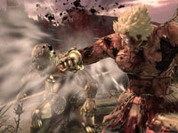 Asura destroying an enemy with a punch in Asura's Wrath