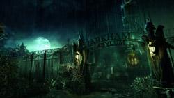 Moody Arkham Asylum setting in 'Batman: Arkham Asylum'