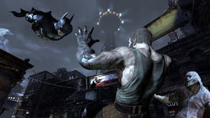 Batman swooping down on enemy thugs in Batman: Arkham City