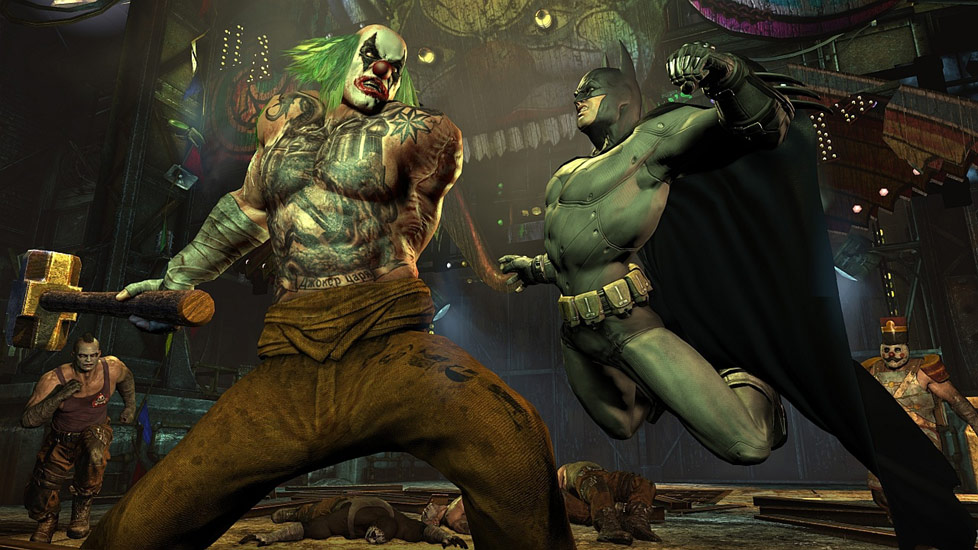 Batman taking a huge swing at an equally huge baddie in Batman: Arkham