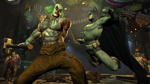 Batman taking a huge swing at an equally huge baddie in Batman: Arkham City