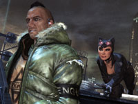 Catwoman in predator mode as she sneeks up on an enemy in Batman: Arkham City