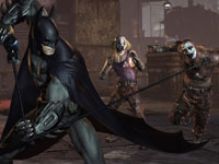 Batman using the grapple tool against enemies at close range in Batman: Arkham City