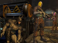 Batman sneeking up on a group of enemies in Batman: Arkham City