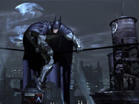 Batman using cables for movement against the Gotham skyline in Batman: Arkham City